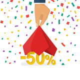 Discounts opening concept. Man hold hand a red silk cloth, opening 50 percent discount. Colorful falling confetti isolated on white background. Vector Royalty Free Stock Image