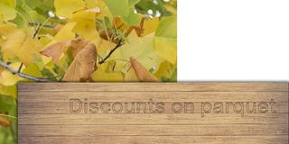 Discounts on parquet. Indication of discounts on the purchase of parquet Royalty Free Stock Image