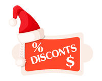 Discounts and Percent Dollar Signs on Festive Tag. Discounts inscription and Percent dollar signs on Christmas tag in rectangular shape with round edges and Royalty Free Stock Images