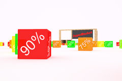 Discounts on products. Background illustration. 3d illustration Stock Photos