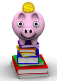 Discounts on the purchase of books. Concept. Pig piggy bank standing on a stack of books. The concept of saving on the purchase of books. . 3D Illustration Stock Photography