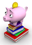 Discounts on the purchase of books. Concept. Pig piggy bank standing on a stack of books. The concept of saving on the purchase of books. . 3D Illustration Royalty Free Stock Image