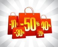 Discounts sale poster with red paper shopping bags, clearance design. Concept Stock Photography