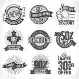 Discounts seasonal sales logos Royalty Free Stock Photos