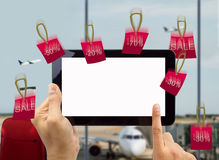 Discounts in shopping at the airport Royalty Free Stock Photo