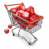 Discounts. Shopping cart and cubes with percent Stock Photography
