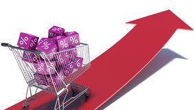 Discounts. Shopping cart and cubes with percent Stock Images