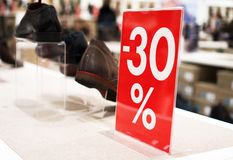 30 percent discount. Discounts in the shopping center. 30 percent discount Royalty Free Stock Images