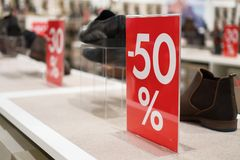 50 percent discount. Discounts in the shopping center. 50 percent discount Stock Photography