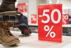 50 percent discount. Discounts in the shopping center. 50 percent discount Royalty Free Stock Image