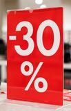30 percent discount. Discounts in the shopping center. 30 percent discount Stock Photography