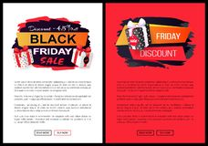 Discounts and Special Prices, Reductions Surprises. Discounts and special prices, reductions and surprises, autumn sellout on web poster with text. Black Friday stock illustration