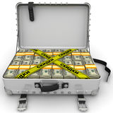 Discounts. Suitcase full of money. A suitcase filled with bundles of US dollars and yellow tapes with text `DISCOUNTS Russian language`. Isolated. 3D Royalty Free Stock Photo