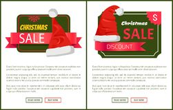 Discounts Tags Santa Claus hats Promo Labels Xmas. Discounts tags Santa Claus hats on promo labels Christmas sale concept, vector website posters with text Stock Photo