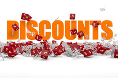 Discounts text and cubes Stock Image