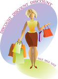 Discounts. Woman with shopping. Vector illustration Stock Image