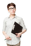 Discouraged Female Accountant Thought Stock Photography