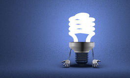 Discouraged spiral light bulb character Stock Photos