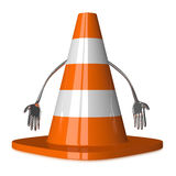 Discouraged traffic cone character Royalty Free Stock Photos