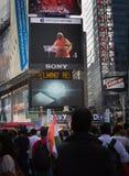 Discours de Narendra Modi sur l'écran de Digital de Times Square Photographie stock