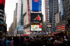 Discours de Narendra Modi sur l'écran de Digital de Times Square Photos libres de droits
