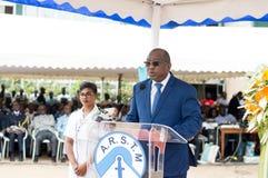 Discours du parrain à la cérémonie maritime image libre de droits