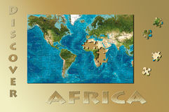 Discover Africa. World Map made as a puzzle with Africa pieces missing Royalty Free Stock Photography
