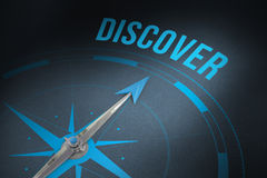 Discover against grey background. The word discover and compass against grey royalty free illustration