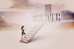 Discover against white steps leading to closed door Stock Photos