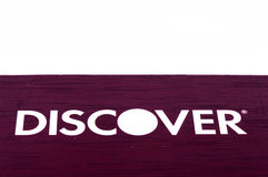 Discover credit card close up on white background. Selective focus with shallow depth of field Stock Photo