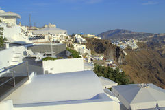 Discover dazzling  Santorini. Picture taken  at Firostefani,Santorini,Greece. Opposite is seen the island capital Thira. Heavenly place.Love it Stock Photo
