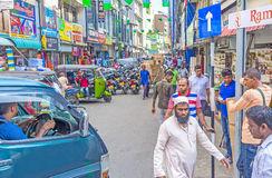 Discover drängte Pettah in Colombo lizenzfreies stockbild