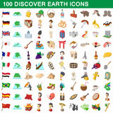 100 discover earth icons set, cartoon style. 100 discover earth icons set in cartoon style for any design vector illustration Royalty Free Stock Photos
