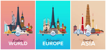 Discover Europe, Explore Europe, travel to Asia. Vacation. Trip to country. Travelling illustration. Modern  flat. Royalty Free Stock Photos