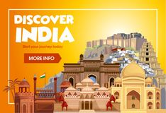 DIscover India travel banner. Trip to India design concept. India travel illustration. Travel promo banner. Vector India vector illustration