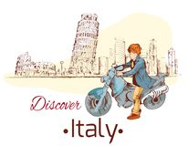 Discover Italy poster. Discover Italy sketch poster with travel landmarks and person on motorcycle vector illustration stock illustration