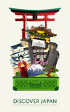 Discover Japan banner with famous attractions. Royalty Free Stock Images