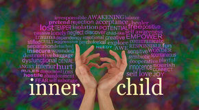 Discover and learn to love your Inner Child. Female hands making a heart shape with the words INNER CHILD at wrist level and a relevant word cloud above on a stock photos