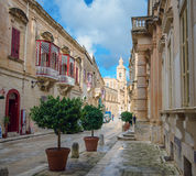 Discover Malta - Streets of Mdina. Picture with a view to the amin street of mdina - malte Stock Photography