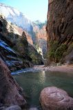 The Narrows, Zion, Utah. Discover the natural beauty of the Narrow in Zion National Park. The colors you can admire are just unreal. Every turn you take, a new Royalty Free Stock Images