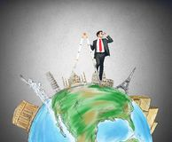 Discover new destinations. Businessman discovers new destinations in the world vector illustration