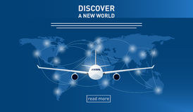 Discover a new world. Transportation themed banner with an illustration of an airplane Stock Images