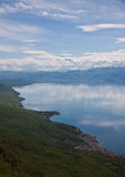 Discover Ohrid Lake. Ohrid Lake, beautiful reflection and nice colors, Lagadin Ohrid Macedonia Stock Image