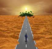 Discover Opportunity Concept. Discover opportunity business concept for success as a person walking on a desert road to an oasis of hope or a spiritual journey royalty free illustration