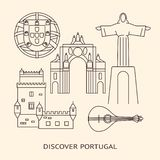 Discover Portugal banner or poster template with icons in line style stock illustration