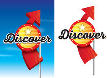 Discover roadside retro vintage american signage. 1950s style of advertising  on a white background, vector available Royalty Free Stock Photography