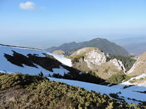 Discover Romania on spring 2. April in Piatra Mare Mountains with traces of snow Stock Images