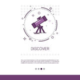 Discover Telescope Astronomy Science Web Banner With Copy Space. Vector Illustration royalty free illustration