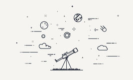 Discover telescope concept. Discovery concept. Flat style, thick and thin line design of telescope looking to the stars and planets. Science discover royalty free illustration