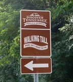 Discover Tennessee Trails and By Ways Sign. Get ready to explore West Tennessee like you've never seen it before on the Walking Tall Trail. On the surface, it Stock Image
